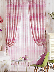 Two Panels Cute Country Pink Floral And Stripe Energy Saving Curtains Drapes