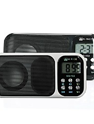 "HI-RICE 102  1.2"" LCD Portable Media Player Speaker w/ USB 2.0, TF, FM, Clock, Calendar, Torch - (White/BIack)"