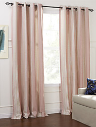 (Two Panels) Country Fresh Style Pink Stripe Eco-friendly Curtain
