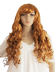 Long Golden Synthetic Wavy Wig Side Bang