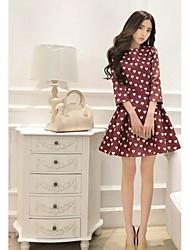 girocollo donne pieghettato mini dress, in cotone carino