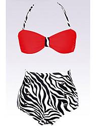 Mujeres Rojas Pin up de talle alto Bikini