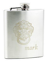 Personalized Stainless Steel 7-oz Flask - Lion
