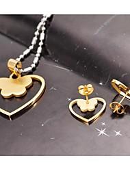 Conjuntos de Jóias Borboleta Aço Titanium colares brincos de pedras preciosas em forma de coração doce