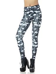 Elonbo Grey Skulls Style Digital Painting Tight Women Leggings