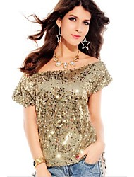 Women's Seductive Off-shoulder Glistening Sequin Top