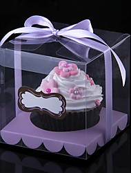 Lovely Cubic PVC Cupcake Wrapper and Boxes with Ribbon - Set of 12 (More Colors)