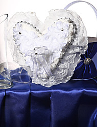 White Satin Flowers & Lace Wedding Ring Pillow With Ring Box