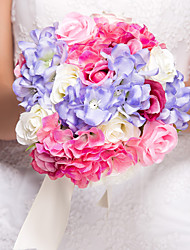 "Wedding Flowers Round Roses Bouquets Wedding Silk Multi-color 10.24""(Approx.26cm)"