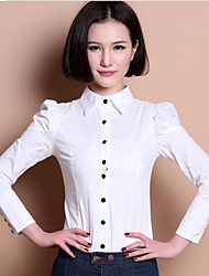 Women's Solid White Blouse , Crew Neck Long Sleeve Button