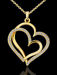 Women's Pendant Necklaces Rhinestone Platinum Plated Alloy Fashion Simple Style Golden Jewelry Party Daily 1pc