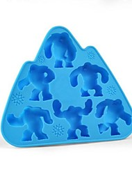 6 Holes Snow Monsters Shape Icy Cube Tray, Silicone Material, Random Color