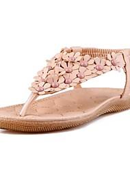 женская плоским пятки флип-флоп сандалии с цветами обуви (больше цветов)
