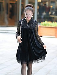 Women's Lace / Vintage Dress Above Knee Lace / Fleece