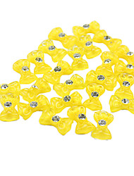 20PCS 3D Yellow Resin Rhinestone Bowknot Nail Decorations
