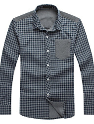 Kaying Men's Check Pattern Long Sleeves Shirt
