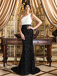 TS Couture® Formal Evening Dress - Vintage Inspired / Elegant Plus Size / Petite Trumpet / Mermaid One Shoulder Court Train Lace with Flower(s) / Lace