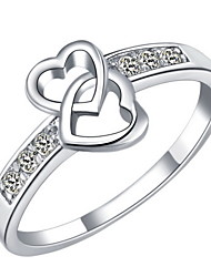 Fashionable Sliver Clear With Cubic Zirconia Heart Cut Women's Ring(1 Pc)