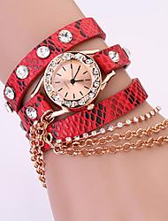 Koshi 2014 Frauen Metallkette Diamonade 3 Runde Litchi Leder Uhr (Red)
