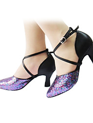 Customizable Women's Dance Shoes Modern Leatherette Flared Heel Purple
