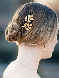 Ethnic Leaf Shape Gold Alloy Hairpins For Women(1 Pc)
