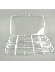 Caso plástico de almacenamiento transparente 15 compartimentos