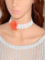 Elonbo L'orange vif des fleurs de style de cru Gothic Lolita collier tour de cou pendentif bijou