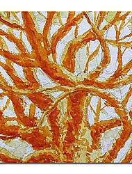 Hand Painted Oil Painting Abstract Golden Tree with Stretched Frame