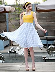 Vestido del oscilación Contraste Vintage TS Color de cuadrícula