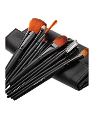 12PCS Wooden Handle Makeup Brush Set with Black Leatherette Pouch