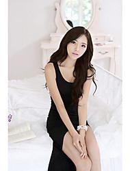 Meiyan Europa y el vestido de noche atractivo irregular (Negro)