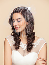 Wedding Veil One-tier Blusher Veils Birdcage Veils 15.75 in (40cm) Tulle Satin White BlackA-line, Ball Gown, Princess, Sheath/ Column,