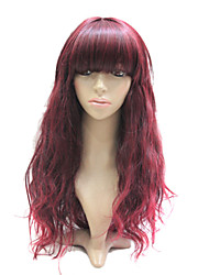 Capless Auburn Red Long Curly Synthetic Hair Full Wig