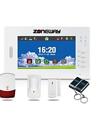 ZONEWAY® 7 Inch Color Touch Screen Wireless GSM Alarm System(30 Wireless Zone,CID Protocol,868MHz)