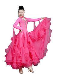 Ballroom Dance Dresses Women's Training Tulle Ruffles Fuchsia / Light Blue / Red / Royal Blue / YellowModern Dance / Performance /