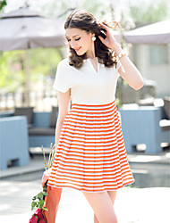 TS Stripes Stitching Skater-Kleid