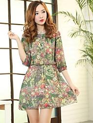 De las mujeres de la vendimia de la impresión floral de la gasa mini vestidos
