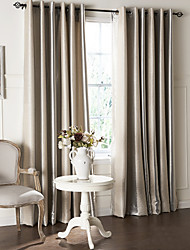(Two Panels) Modern Minimalist Stripe Pattern Jacquard Blackout Curtain