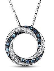 Moda Sterling Silver platinata con diamanti naturali bianchi e blu Diamanti Collana Donna