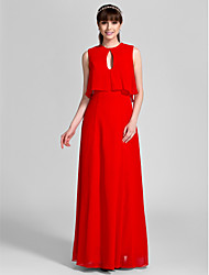 Lanting Bride® Floor-length Chiffon Bridesmaid Dress - Sheath / Column Jewel Plus Size / Petite with
