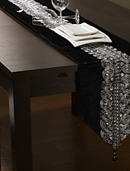 "Black/Silver Table Runner 80""×12"", Velvet"