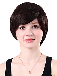 Capless Short Straight Black 100% Human Hair Wig Side Bang