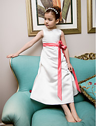 A-line Princess Tea-length Flower Girl Dress - Satin Jewel with Bow(s) Flower(s) Sash / Ribbon