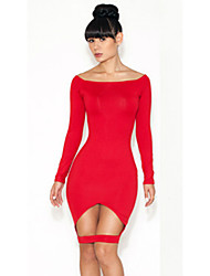 Женская Экспорт Новый ночной клуб Потрясающие Aymmetrical платья повязки