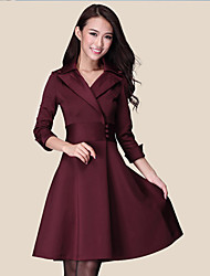 Yiluo moda tamanho grande fino vestido de manga 3/4 (vermelho)
