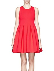 Women's Party/Cocktail A Line Dress,Solid Round Neck Mini Sleeveless Red / Black Spring / Fall / Winter