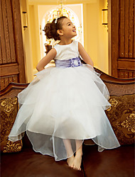 Lanting Bride A-line / Princess Tea-length Flower Girl Dress - Organza Sleeveless Jewel with Flower(s) / Ruffles / Sash / Ribbon / Ruching