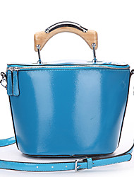 SCIDACA Women's Simple Lovely Solid Color Leather Tote(62 Light Blue)