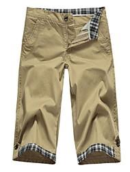 Moda Masculina design cor sólida Cropped Pant