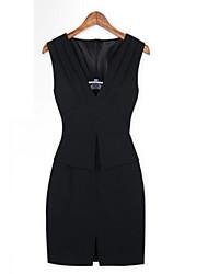 Cabido Bodycon Vestido V-Neck de YiYa Mulheres